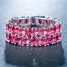 Gorgeous Women Wedding Rings Set 925 Silver Jewelry Oval Cut Ruby Size 10