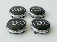 4 Pcs 77mm AUDI Black 4L0601170 Wheel Center Caps Logo Badge Hub Caps Rim Caps