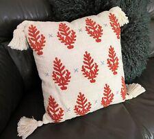 Anthropologie Tassled Throw Pillow - Beach Coral Sea 100% cotton decorative