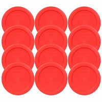 "Pyrex 7200-PC Round 2 Cup 5"" Storage Lid Cover Red 12 Pack for Glass Bowl New"