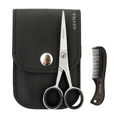 "Kovira 4.5"" Steel Beard Mustache Scissors & 2.8"" Mini Mustache Comb"