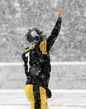Pittsburgh Steelers BEN ROETHLISBERGER Glossy 8x10 Photo Spotlight Snow Poster