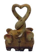 éléphant cœur Coffre décoration crème marron beige noir 19cm x 10cm x 4cm