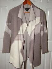 Tahari Pure Luxe 100% Cashmere Cream Khaki  Duster Cardigan Sweater Jacket XS