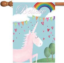 Toland Believe in Unicorns 28 x 40 Cute Rainbow Heart Unicorn House Flag
