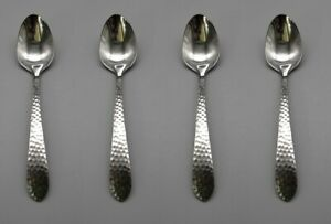 SET OF FOUR - Reed & Barton Stainless HAMMERED ANTIQUE Demitasse Spoons