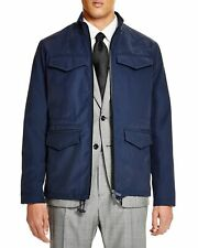 $795 Hardy Amies Mens 4-Pocket Full Zip Nylon Jacket Medium M Navy Blue