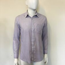 """George Mens White Pink Blue Pinstriped Striped Tailored Formal Shirt 15"""" Collar"""