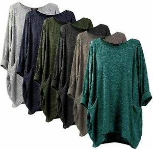 Italia Plus Size knitted Tunic Lagenlook oversized baggy Top with pockets 10-30