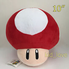 """New Super Mario Bros. Plush Red Mushroom Soft Toy Stuffed Animal Teddy Doll 10"""""""