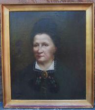 Huile sur toile Tableau Portrait de femme XIXème @