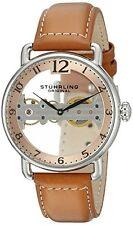 Stuhrling Original Mens 976 02 Bridge Mechanical Hand Wind Brown Leather Watch