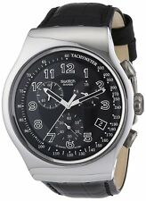 Swatch YOUR TURN BLACK Chronograph Dial Leather Black Men Watch YOS440