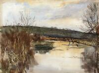 THE RIVER KENNET MARLBOROUGH Victorian Watercolour Painting 1892 J ANDREW LLOYD