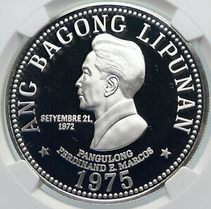 1975 PHILIPPINES New Society MARCOS Old Proof Silver 50 Pesos Coin NGC i85387