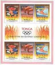 Tonga MNH 2012 Giochi Olimpici di Londra 6V M / S OLIMPIADI BOXE NUOTO ATLETICA