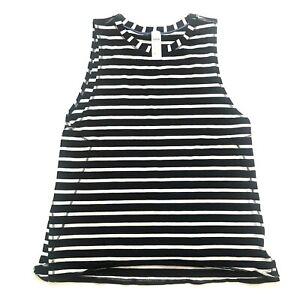Ivivva Kids Athletic Tank Size 12 Girls, Black White Stripe Sleeveless