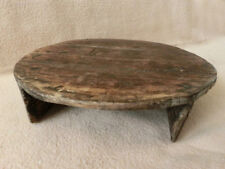 "💥 14"" ANTIQUE PRIMITIVE SMALL LOW ROUND DINNING TABLE - RARE & HARD TO FIND"
