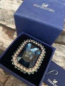 Swarovski Large Deep Topaz With Emerald & Sapphire Surround Dress Ring In Box