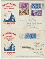 1948 x 2 OLYMPIC GAMES ILLUSTRATED FDCs 5 RING CANCELS + 1 WEMBLEY SKELETON PMK