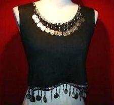 S Black Boho Hippie Gypsy GYPSY TRIBAL Coin Belly Dance Dancing Choli Shirt Top