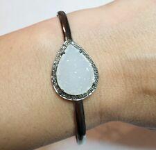 WHITE DRUZY AGATE .3CT PAVE DIAMOND 925 SILVER bangle bracelet