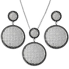 BEAUTIFUL ROUND Pave Set Black & White CZ .925 Sterling Silver Earrings Set