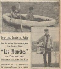 Z9152 Les Bateaux Pneumatiques LES MOUETTES -  Pubblicità d'epoca - 1929 Old ad