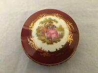 "Limoge Castel France Round Lidded Porcelain Jewelry Trinket Gold Trim Box 3"""
