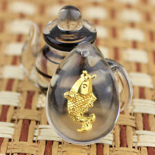 999 24K Yellow Gold & Crystal Lucky Fish Pendant ONLY PENDANT