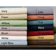 Cozy Bedding Flat Sheet+2 Pillow Case Organic Cotton Twin XL Size Solid Colors