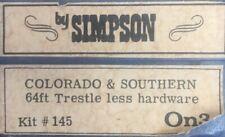 On3 Scale Simpson Colorado & Southern 64ft Trestle Less Hardware Bridge Kit 145