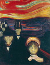 "Anxiety by Edvard Munch, Handmade Oil Painting Reproduction on Canvas, 24"" x 32"""