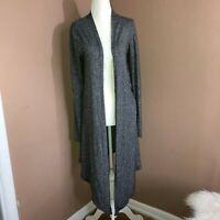 POOF! Women's Gray Cotton Blend Long Sleeve Open Front Cardigan Sweater Sz S