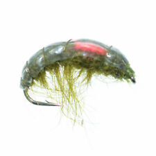 Red Spot Big Horn Shrimp Nymph Fly Fishing Fly Hook Size 10 - Scud Wet Flies