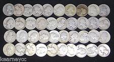 1935 D WASHINGTON QUARTERS GOOD G - FINE F FULL ROLL 40 SILVER COINS