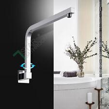 Bathroom Stainless Steel Chrome 180°Swivel Gooseneck Shower Head Wall arm Square
