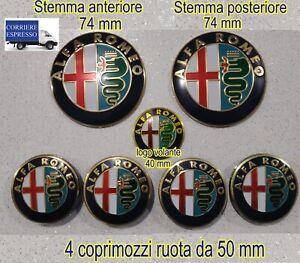 KIT FREGIO STEMMI LOGHI ALFA ROMEO 147 156 159 MITO GIULIETTA DORATO MISURA 50mm