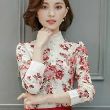 Women Lace Ruffle Collar Shirt Printed Floral Long Sleeve Work Career Blouse Top
