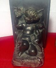 "Vintage Art Deco 1920'S ""Ronson"" Metal Wares Cherub With Butterfly Bookends"