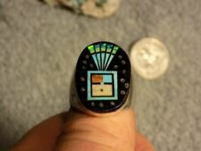 Mens Sterling  Turquoise Jet Inlay Ring  Navajo Gilbert Smith Size 12.5