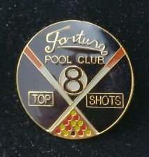"Fortuna Pool Club ""Top Shots"" Circular Pin Badge 25mm Wide."
