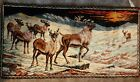 Stag Elk Caribou Vintage Wall Hanging Tapestry Made in Italy 38 x 19