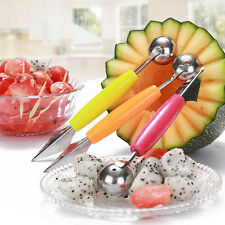 New 2 in 1 Fruit Dig Ball Scoop Spoon Carving Ice Cream Melon Baller Dual Use