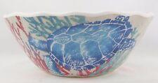 "222 Fifth 2 Sea Life turtle crab ocean melamine cereal bowls 6.25"" soup salad"