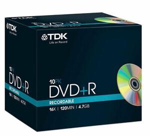 TDK DVD+R 4.7GB 16x Speed 120min Recordable DVD Discs Jewel Case x10 new