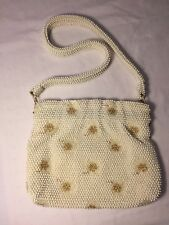 Corde Bead by Lumured Purse Ivory and Gold Vintage Beaded Prom Wedding Events