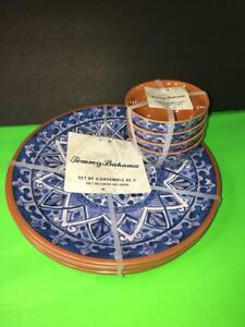 TOMMY BAHAMA REUSABLE MELAMINE DINNER PLATES DESSERT ICE-CREAM FRUITS BOWL SET