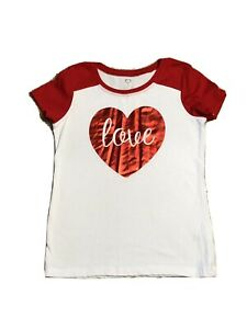 Faded Glory Heart M 7/8 Girls T-shirt White With Red Sleeves & Heart-PERFECT!!