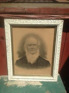 Vintage Haunted Picture In Wood Frame Primitive